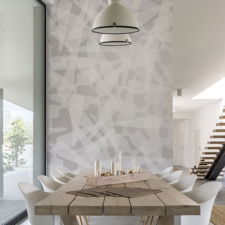 """""""Blank"""" geometric pattern wallpaper in a bright and modern dining room.  #Tecnografica #ItalianWallcoverings #decorehome"""