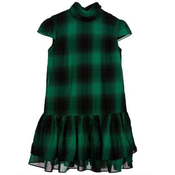 Polo Ralph Lauren - Girls Green & Black Tartan Check Dress  :