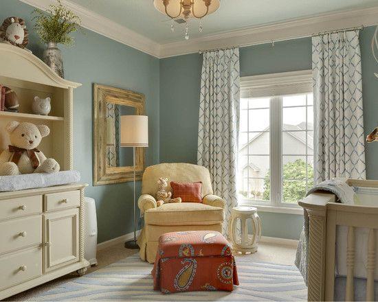 curtains, nursery, paint is BM James River Gray