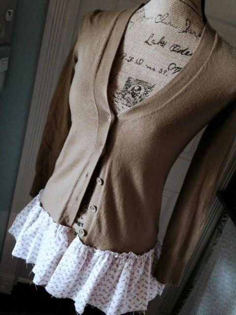 Merino Wool Sweater Cardigan Grampa Style Altered Couture Womens Clothing XS Pink on Cream Shabby Chic Romantic JCrew Prairie Gypsy BoHo