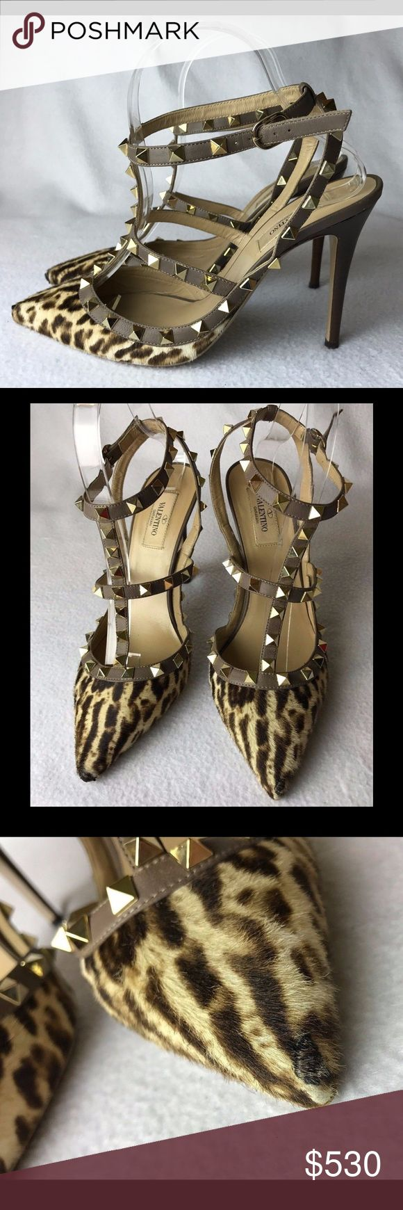 """FLASH SALE⚡️NO OFFERS⛔ Valentino Rockstud Pony 39 Good pre-loved condition. Heels made of wood. Some minor color fading at the backs.  Normal scuffing on sole from wear. All studs on their places. Scuffs on both toes, repaired (glued) but still visible at closer look. Look great on foot!!  Come with original dust bag, NO box, no spare heels or studs. No receipt is kept.    Insole is 10.3"""" Heel is 4.33'' Valentino Garavani Shoes Heels"""