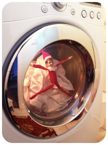 Elf on the Shelf in the dryer..