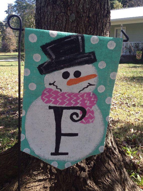Burlap Snowman with Initial Yard Garden Flag by Bu…