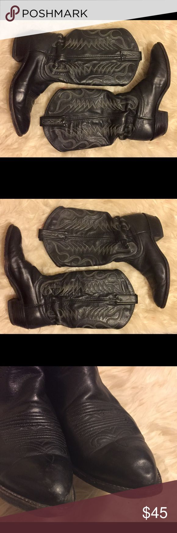 Dan Post Black Leather Western Cowboy Boot Brand: Dan Post Size: Women's 7 Color: black Style: Cowboy Boot Condition: Preowned (scuffing in Toe area and on Heel, see photos) Dan Post Shoes Heeled Boots