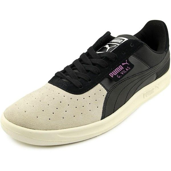 Puma G Vilas B and S Women Sneakers ($53) ❤ liked on Polyvore featuring shoes, sneakers, black, puma sneakers, leather sneakers, kohl shoes, black trainers and puma trainers