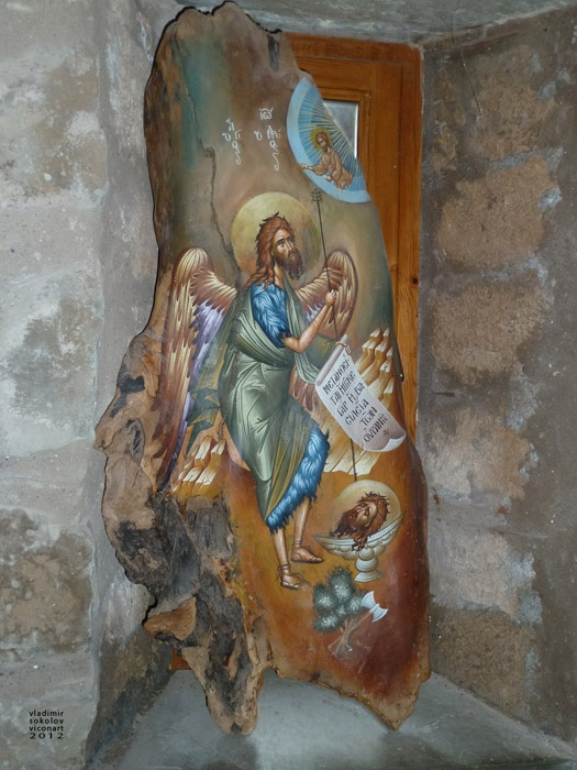 greek orthodox icon on wood