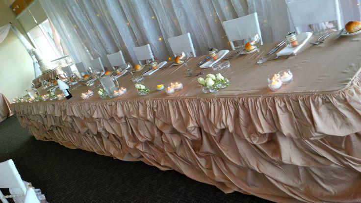 @FortScratchley #Newcastle #beige #tablecloths #ruffledbridaltable #skirt #glass #crystal #candelabras