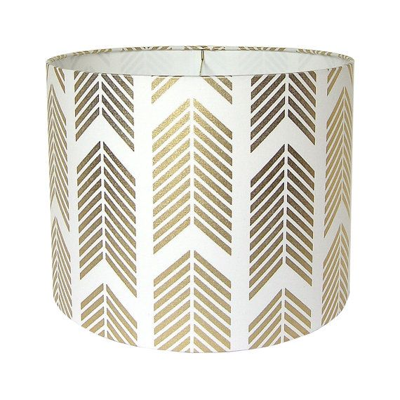 $105 Drum Lamp Shade Lampshade Pendant Gold Arrows by Caitlin Wilson Made to Order