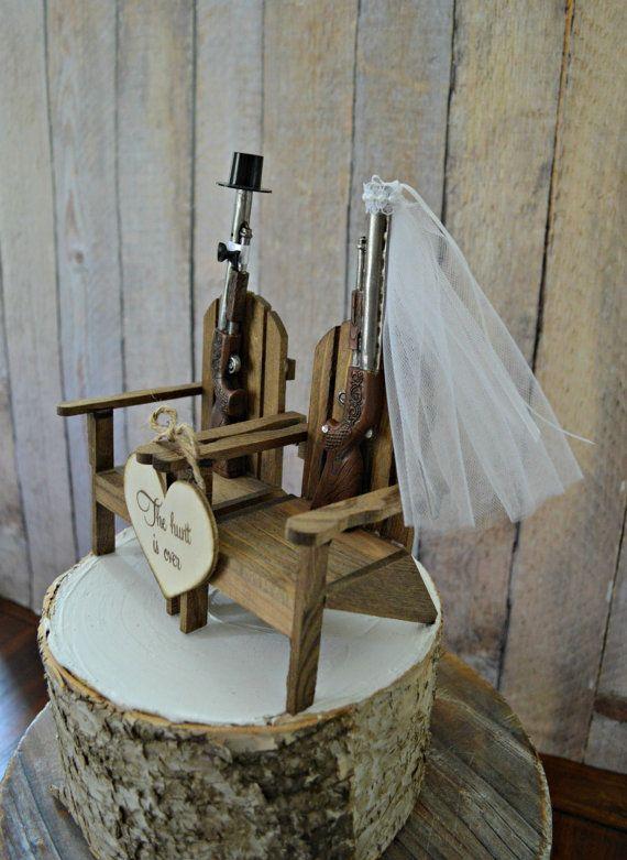 Shot gun hunting themed wedding cake topper by MorganTheCreator