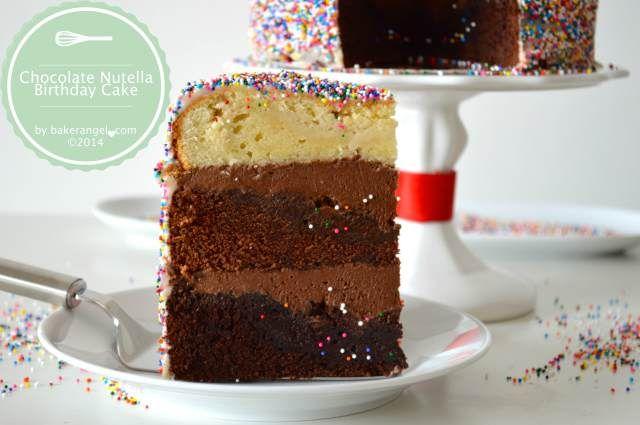 Chocolate Nutella Birthday Cake by bakerangel.com