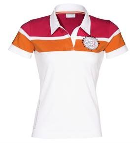 Porsche Women's Polo Shirt - Size Large by Porsche. $110.00. With Porsche Performance logo and contrasting stripes on the chest area. Sewn-on on sleeve and Porsche logo along the side seam. Neckband in contrasting color. Shortened buttonhole placket. 95% cotton, 5% elastane. In White.  *Please note that this item is imported and has a European fit.