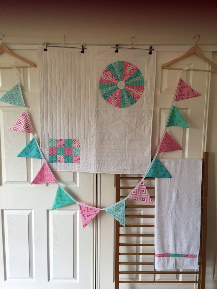 Crib / Cot Set - Modern Unisex quilt in aqua and pink, includes bunting and bath towel. Handmade, home decor. by QuiltAroundTheClock on Etsy https://www.etsy.com/au/listing/236164826/crib-cot-set-modern-unisex-quilt-in-aqua