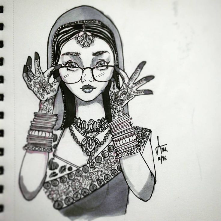 Well, this was one of the more frightening things I have done.. inking a drawing.. phew! #firsts #inktober2016 #inktober #inkingforthefirsttime #indian #bride Thank you folks..