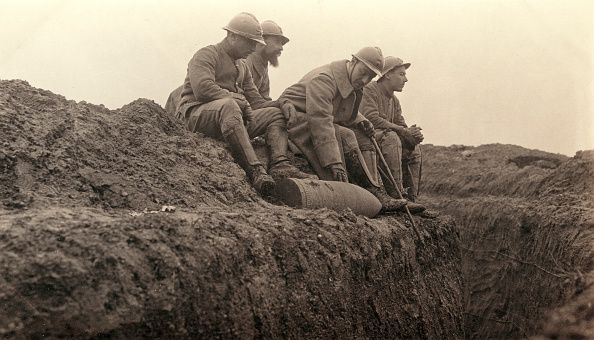 World War I. French soldiers in a trench, Western Front.