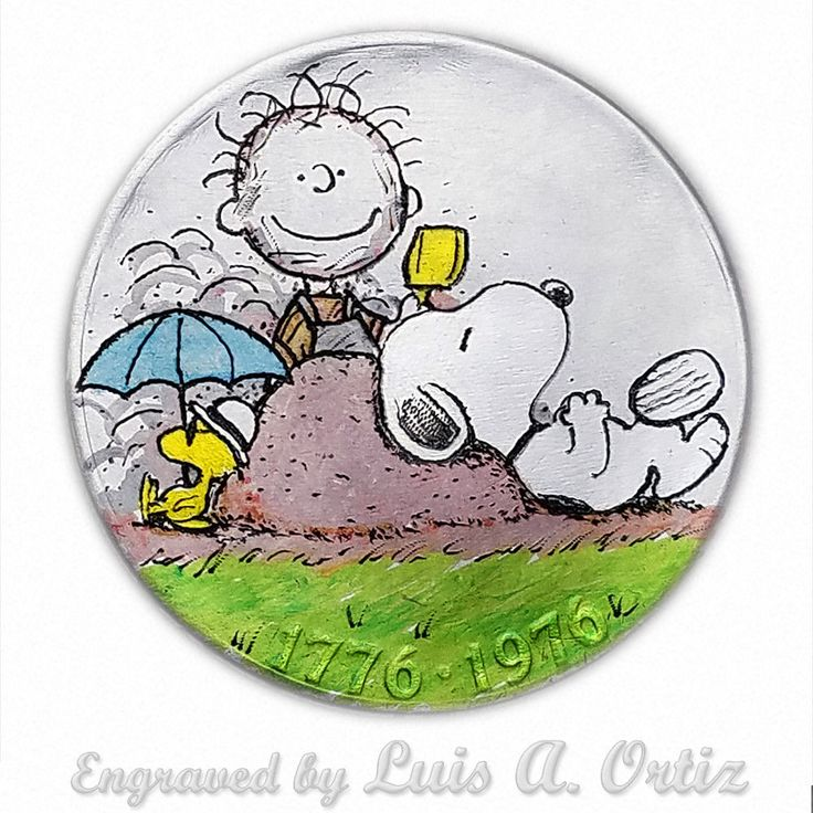 Snoopy & Pigpen S1411 Ike Hobo Nickel Hand Engraved &Colored by Luis A Ortiz