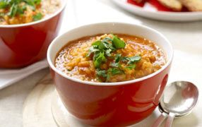 Red lentil and tomato soup is a vibrant and delicious soup packed full of flavour. Quick and easy to make, it's high in iron, protein and fibre, a great meal to get the goodness of legumes into your day.