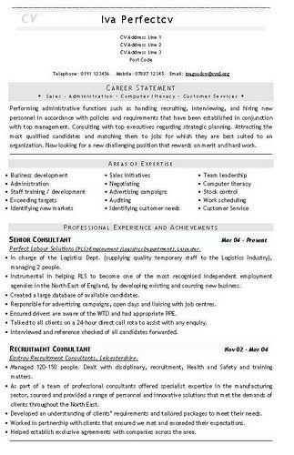 recruitment consultant cv sample