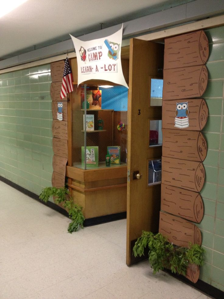 """The outside of my door for my 1st grade summer school """"camping"""" theme."""
