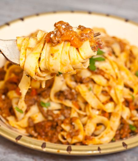 This is a picture of Fettuccine Bolognese it looks amazing I haven't tried it yet but am planning to. I also wanted to share about  a giveaway of a Cuisinart Food Processor! To find the recipe for the Bolognese and more(also to enter in giveaway) go to onceuponachef.com  Happy Cooking!