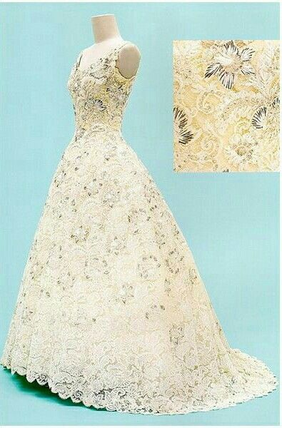 Evening Dress, 1960 by Pierre Balmain : Made of Lesage-embellished French lace, this gown was worn on the 1960 tour to banquets, the theater, and other formal events in Belgium, Germany, Norway and Spain—and later in Thailand