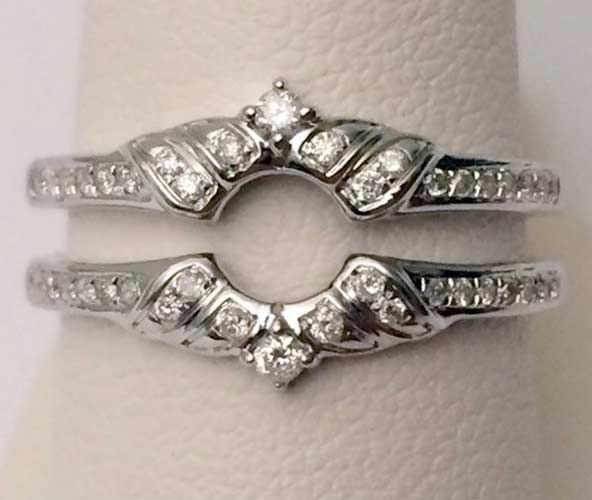 White Gold Solitaire Enhancer Round Diamonds Ring Guard Wrap Wedding Vintage (0.25ct. tw)- RG331451374807.. #14kt #rose #gold #diamond #bridal #engagement #wedding #ring #fashion #jewelry #jewelryring #diamondring #engagementring #fashionring #lovely #Ringguard #Warp #Enhancer #Ringjacket