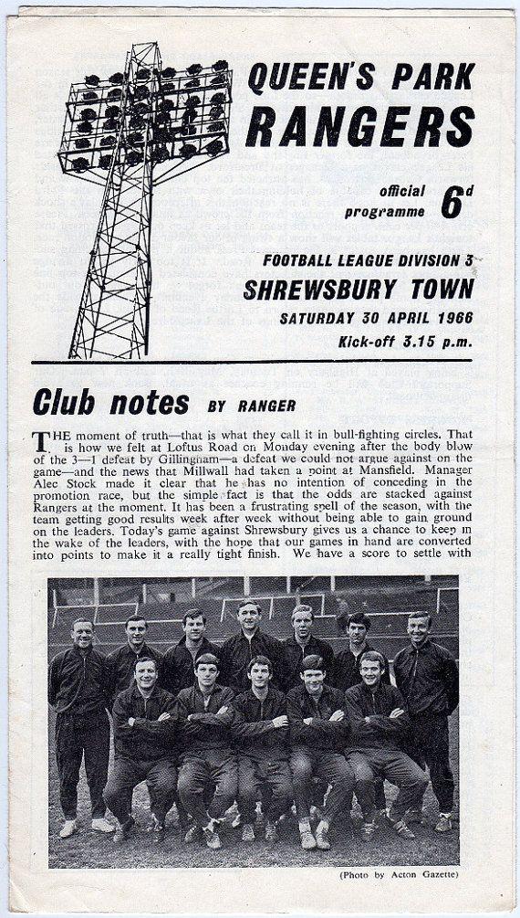 Vintage Football (soccer) Programme - Queens Park Rangers v Shrewsbury Town, 1965/66 season #football #soccer #qpr