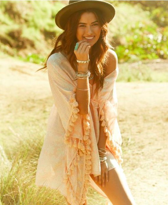 Paradise Mini Kaftan modern hippie chic style with tassels, stacked boho bangles & bracelets. For the BEST Bohemian jewelry & fashion trends FOLLOW http://www.pinterest.com/happygolicky/the-best-boho-chic-fashion-bohemian-jewelry-gypsy-/