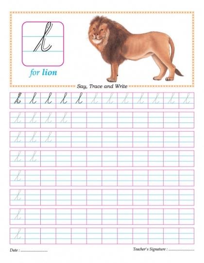 Cursive letter practice sheets