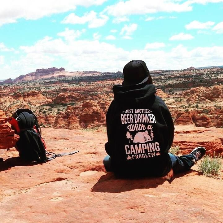I'd give anything to be camping where Jennifer is. So beautiful! Thanks Jennifer for picking up one of our JUST ANOTHER BEER DRINKER WITH A CAMPING PROBLEM hoodies and for sending it in to us! If you need a hoodie like this, click here: http://teespring.com/beerandcampingshirt