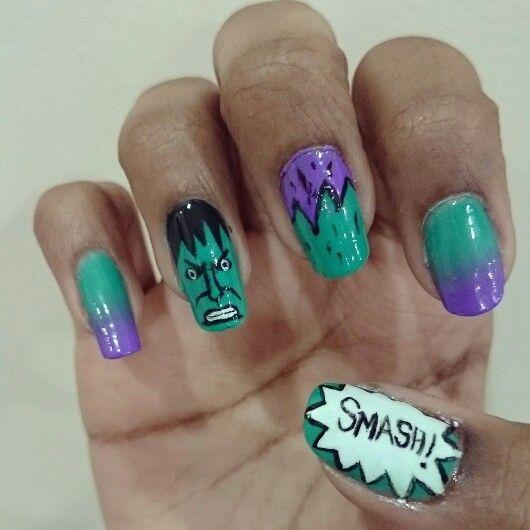 HULK, green and purple nails