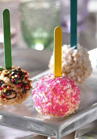 Rice Krispies Treats on a Stick – Personalize these treats using your favorite candies, toppings, and coatings.