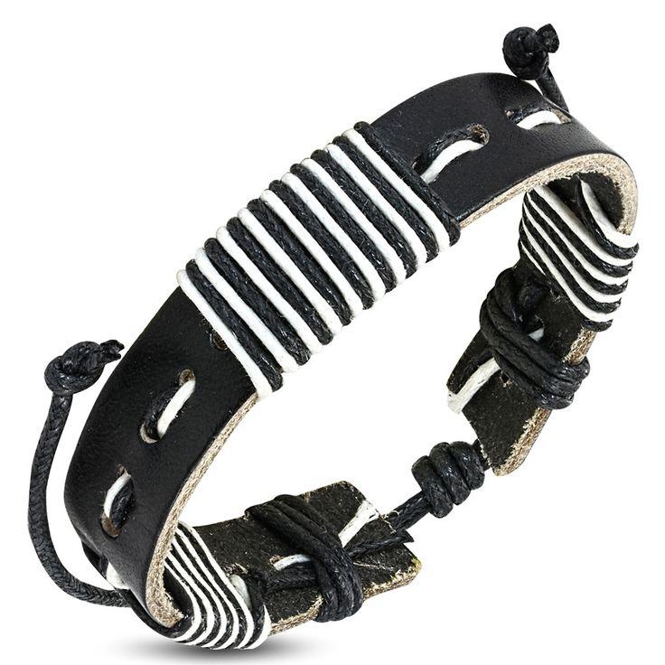 Bracelet homme Zense mode et contemporain ajustable en cuir véritable de couleur noire et brins de couleur blanche. Matière : cuir véritable. Longueur : 18 à 26 cm (ajustable). Largeur : 1.50 cm. Poids : 7 g. Référence : ZB0220