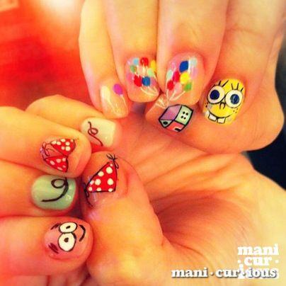 handdrawn spongebob nailart design // branch: manicurious