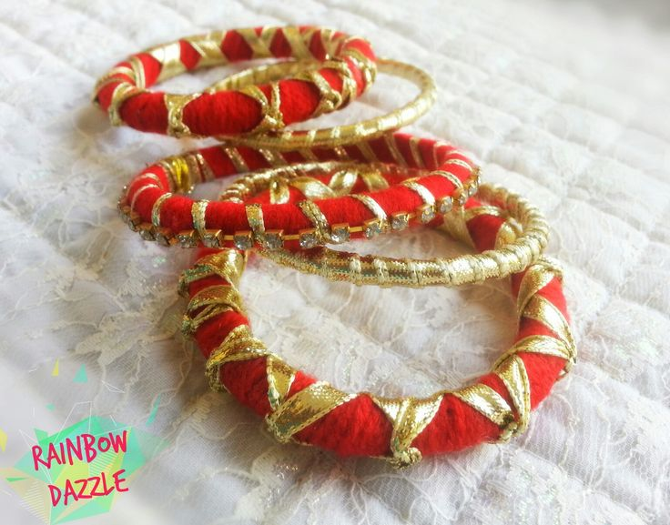 Red and gold handmade bangles. .   Eid collection   For more designs, like my facebook page  Rainbow Dazzle Gota Jewellery  https://www.facebook.com/pages/Rainbow-Dazzle/461994940500930
