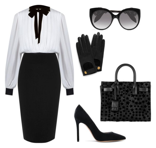"""""""#Work"""" by angel1324 on Polyvore featuring moda, River Island, Gianvito Rossi, Yves Saint Laurent, Alexander McQueen, Mulberry i Monique Lhuillier"""
