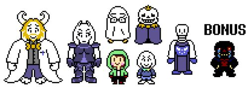 The sprite edits are back! This time, it's Storyshift!  Most sprites were already made, but I remade them anyway. The only ones I really made were Sans, who already had a fanmade design, and Asgore, whose design I came up with on my own. YES, I know...