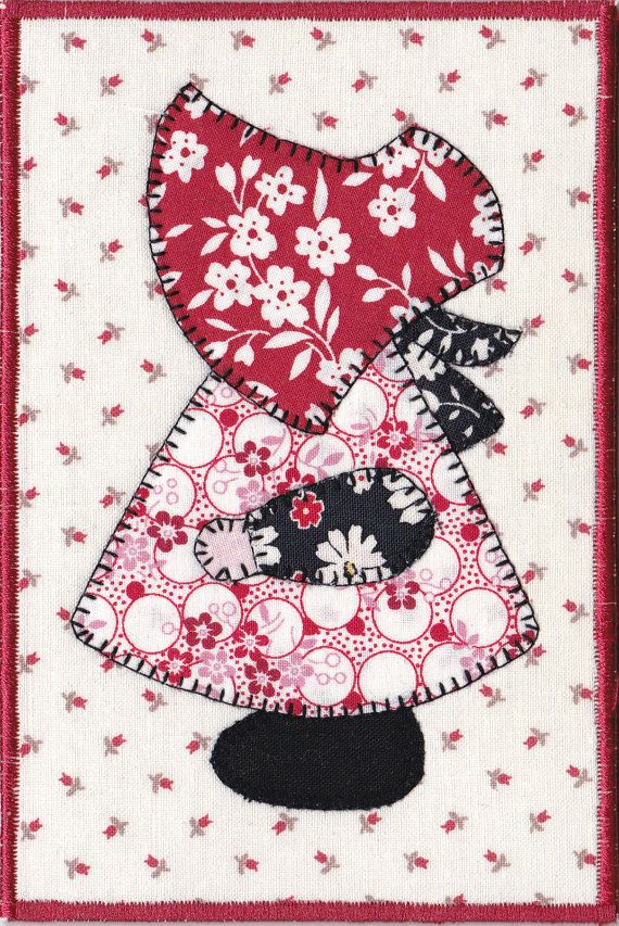 Sunbonnet Sue Quilted Fabric Postcard
