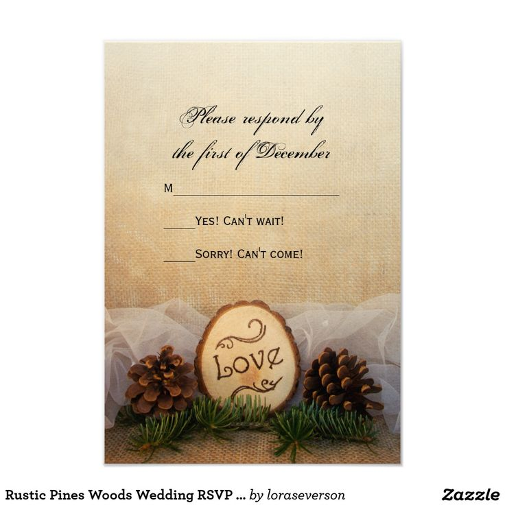 reply to wedding invitation m%0A Rustic Pines Woods Wedding RSVP Response