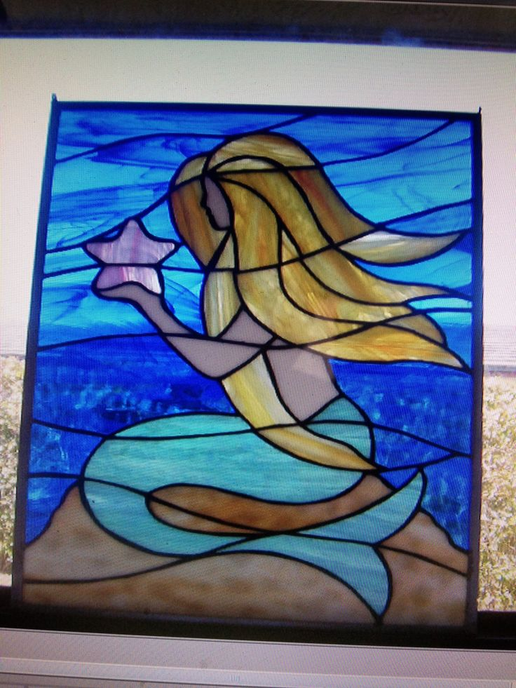 This Mermaid was my first Stain Glass Art piece for glass