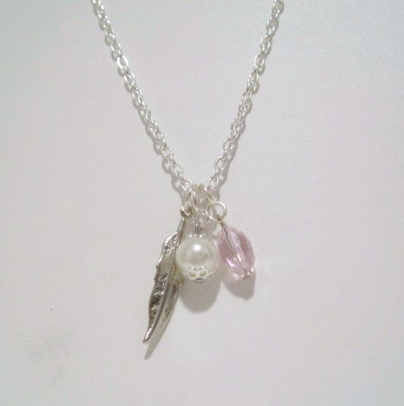 SOLD ~ Pink Crystal and White Pearl Charm Necklace on Etsy, $30.00 CAD