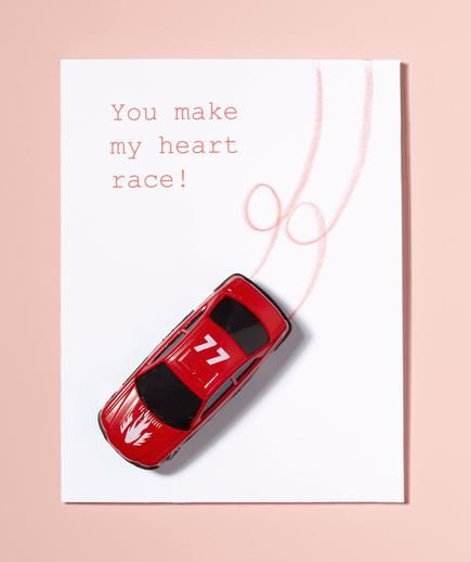 Easy DIY Valentine's Day Card: You Make My Heart Race  #nocandyvalentine