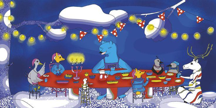 Peetu ja metsänväki nauttivat illallista. Kuvitus: Noora Hattunen.