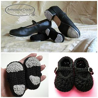 Show your love of dance with these baby tap shoes. They'll be the hit of the baby shower.   Crochet pattern by Ambassador Crochet.