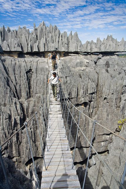 Crossing Tsingy de Bemaraha, a geological wonder in northern Madagascar >>>> this would scare the living daylight out of me but i so want to do it!!!