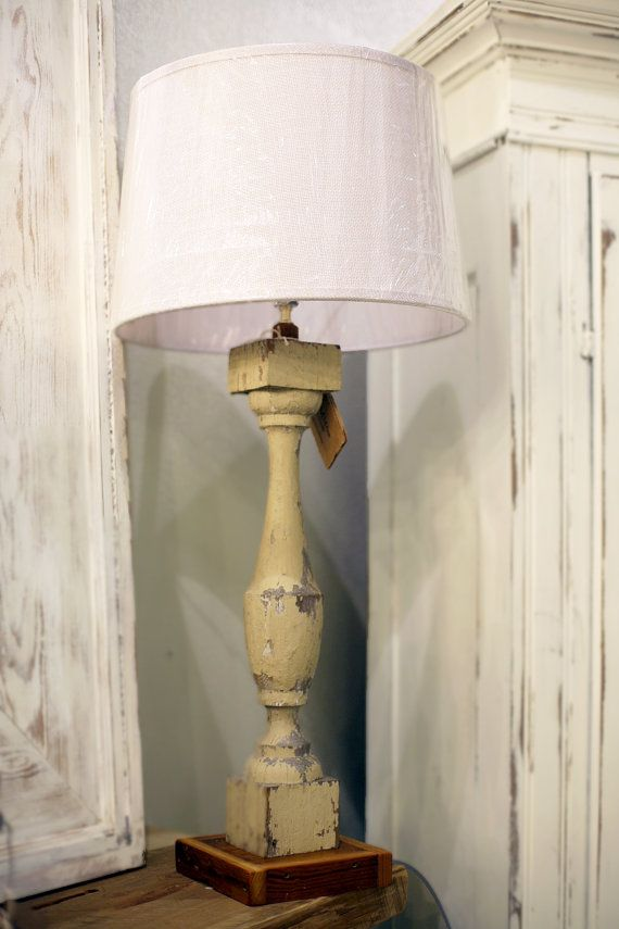 Antique rustic wooden lamp made from architectural salvage via Etsy