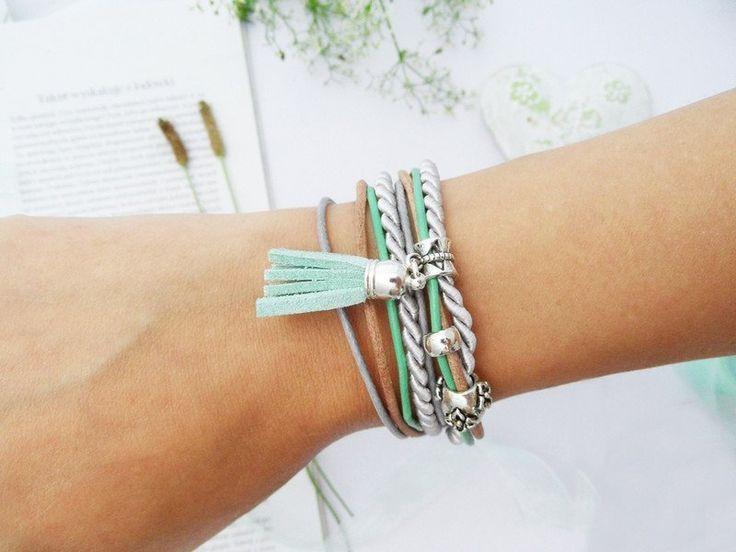 Breeze - ilovehandmade - Bransoletki  #bransoletka #biżuteria #bracelet #jewellery #jewelry #brown #mint #cords #tassel