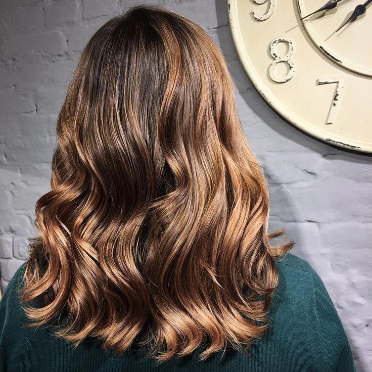 Brown to caramel balayage hair
