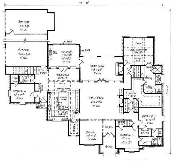 653390 large french country house plan with bonus room for Ranch style house plans with bonus room