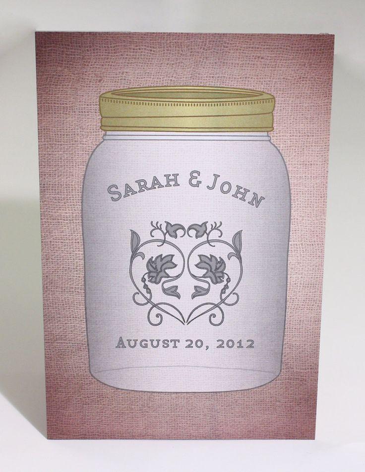 sunflower wedding invitations printable%0A Mason Jar Wedding Invitation Postcard by AwesomeSauceDesigns