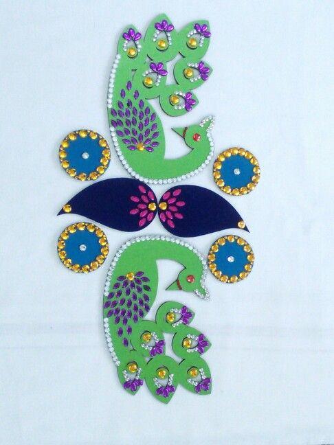 Peacock themed Rangoli